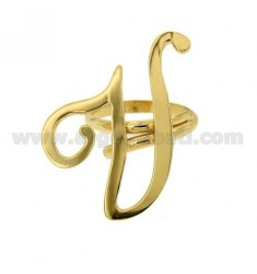 ANILLO AJUSTABLE CARTA &quotU&quot DE PLATA DORADO TIT 925 ‰