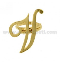 ADJUSTABLE RING LETTER &quotV&quot IN SILVER GOLD PLATED TIT 925 ‰