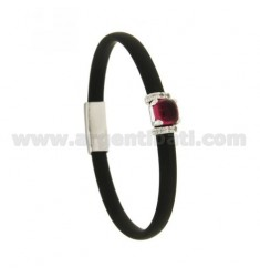 BRACELET RUBBER &39BLACK WITH CENTRAL SQUARE STONE HYDROTHERMAL AND BRIDGES SIDE WITH ZIRCONIA SILVER RHODIUM TIT 925 ‰