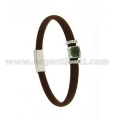 BROWN RUBBER BRACELET WITH SQUARE CENTRAL IN HYDROTHERMAL STONE AND SIDE BRIDGES WITH ZIRCONIA IN RHODIUM-PLATED SILVER TIT 925