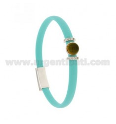 BRACELET RUBBER &39TIFFANY GREEN WITH CENTRAL ROUND STONE HYDROTHERMAL AND BRIDGES SIDE WITH ZIRCONIA SILVER RHODIUM TIT 925 ‰