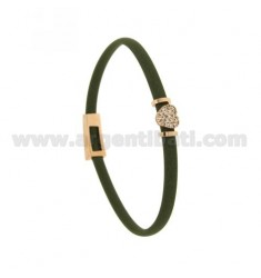 BRACELET RUBBER &39OLIVE WITH CENTRAL CUORICINO zirconate SILVER ROSE GOLD PLATED TIT 925 ‰