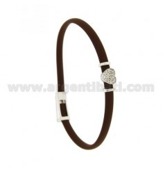 BRACELET RUBBER &39BROWN WITH CENTRAL CUORICINO zirconate SILVER RHODIUM TIT 925 ‰