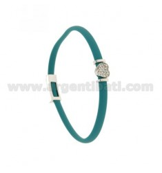 BRACELET RUBBER &39TURQUOISE WITH CENTRAL CUORICINO zirconate SILVER RHODIUM TIT 925 ‰