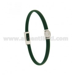 BRACELET IN GREEN RUBBER BOTTLE WITH CENTRAL SQUARE ZIRCONATED SILVER RHODIUM-PLATED TIT 925 ‰