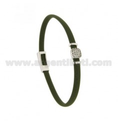 BRACELET IN RUBBER GREEN OLIVE WITH CENTRAL SQUARE ZIRCONATED SILVER RHODIUM TIT 925 ‰