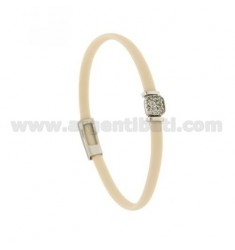 BRACELET RUBBER &39IVORY WITH middle handle zirconate SILVER RHODIUM TIT 925 ‰