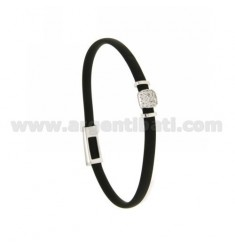 BRACELET RUBBER &39BLACK middle handle zirconate SILVER RHODIUM TIT 925 ‰