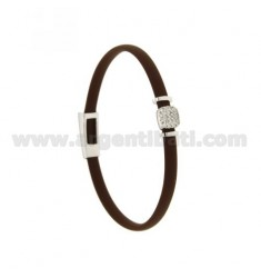 BRACELET RUBBER &39BROWN WITH middle handle zirconate SILVER RHODIUM TIT 925 ‰