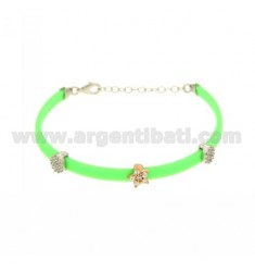 BRACELET RUBBER &39GREEN FLUO WITH THREE PARTITIONS zirconates SILVER PLATED ROSE GOLD AND RHODIUM TIT 925 ‰ CM 17.19