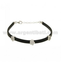 BRACELET RUBBER &39BLACK WITH THREE PARTITIONS zirconates SILVER RHODIUM PLATED TIT 925 ‰ CM 17.19