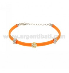BRACELET RUBBER &39FLUO ORANGE WITH THREE PARTITIONS zirconates SILVER AND GOLD PLATED RHODIUM TIT 925 ‰ CM 17.19