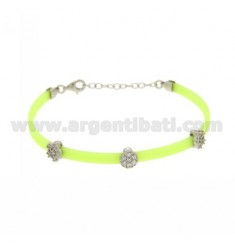 BRACELET RUBBER &39YELLOW FLUO WITH THREE PARTITIONS zirconates SILVER RHODIUM PLATED TIT 925 ‰ CM 17.19