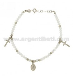 BRACELET WITH STONES WHITE CROSSES AND MADONNINA PENDING IN SILVER RHODIUM TIT 925 ‰ CM 16.18