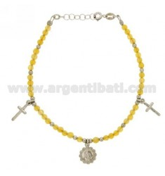 BRACELET WITH STONES YELLOW AND CROSSES MADONNINA PENDING IN SILVER RHODIUM TIT 925 ‰ CM 16.18
