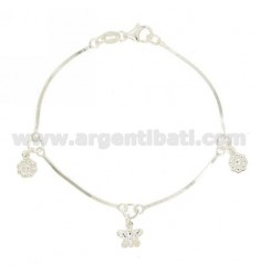 BRACELET QUEUE TOPO COMPRESSED WITH FLOWERS AND BUTTERFLY PENDANT SILVER 925 ‰ TIT CM 18