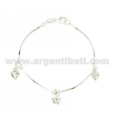BRACELET QUEUE TOPO COMPRESSED WITH STAR AND HEARTS PENDANTS SILVER TIT 925 ‰ CM 18