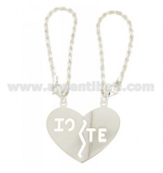 KEY RING DIVIDED HEART IO.TE WITH HOOK Funetta SILVER TIT 925