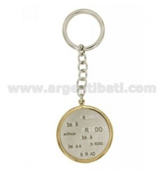 FREEDOM ROUND KEYCHAIN IN ALL LANGUAGES WITH BRISE 'MESH IN SILVER PLATED RHODIUM AND GOLD TIT 925