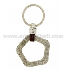 PENTAGON WIRE KEY RING WITH BRISE 'SWEATER AND LEATHER IN RHODIUM-PLATED SILVER TIT 925