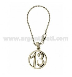 KEY RING WITH ROUND 13 WITH HOOK Funetta SILVER BRUNITO TIT 925