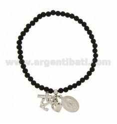 ELASTIC BRACELET WITH BALLS STONES BLACK 4 MM WITH FAITH, HOPE, CHARITY &39AND MIRACULOUS MADONNINA PENDING IN SILVER RHODIUM