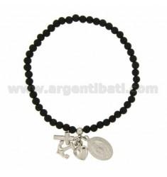 Elastisches armband mit BALLS STONES BLACK 4 MM mit Glauben, Hoffnung, Liebe &quotund wunderbare MADONNINA PENDING In silber rh