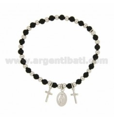ELASTIC BRACELET WITH BALLS SILVER AND HARD STONE WITH 4 MM BLACK AND CROSSES MADONNINA PENDING IN SILVER RHODIUM TIT 925 ‰