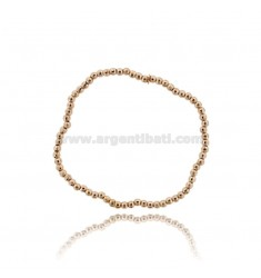 ELASTIC BRACELET WITH DIAMOND BALL 3 MM SILVER ROSE GOLD PLATED TIT 925 ‰