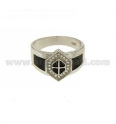 HEXAGON RING MAN WITH POLISH AND ZIRCONIA SILVER RHODIUM TIT 925 ‰ MEASURE 22