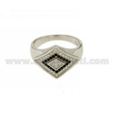 MAN WITH RING ROMBO ZIRCONIA SILVER RHODIUM TIT 925 ‰ MEASURE 19