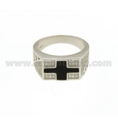 MAN WITH RING CROSS AND GLAZED ZIRCONIA SILVER RHODIUM TIT 925 ‰ MEASURE 22