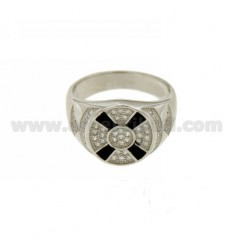 RING ROUND MAN WITH POLISH AND ZIRCONIA SILVER RHODIUM TIT 925 ‰ MEASURE 19