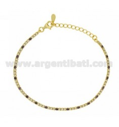 TENNIS BRACELET WITH SWAROVSKI MM 1.5 3 1 WHITE AND PURPLE SILVER GOLD PLATED TIT 925 CM 17.21
