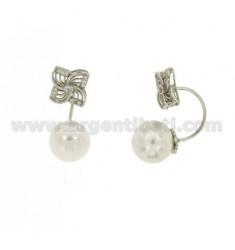 BLUME UND Perle Ohrringe MIT BOGEN Silber Rhodium TIT 925 ‰ und Zirkonoxid