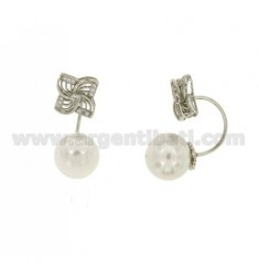 FLOWER AND PEARL EARRINGS WITH BOW SILVER RHODIUM TIT 925 ‰ AND ZIRCONIA
