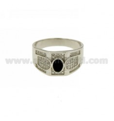 RING WITH STONE OF ONYX OVAL AND ZIRCONIA SILVER RHODIUM TIT 925 ‰ SIZE 20