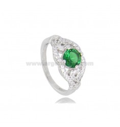 ROUND RING WITH ZIRCONS IN RHODIUM-PLATED SILVER TIT 925 ‰ SIZE 12