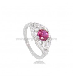 ROUND RING WITH ZIRCONS IN RHODIUM-PLATED SILVER TIT 925 ‰ MEASURE 15