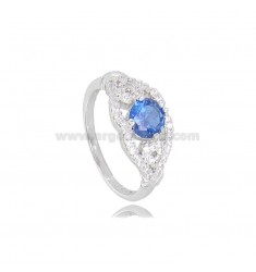 ROUND RING WITH ZIRCONS IN RHODIUM-PLATED SILVER TIT 925 ‰ MEASURE 16