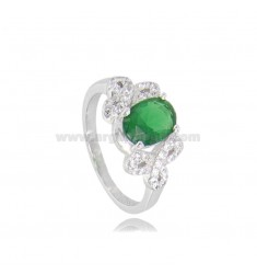OVAL RING WITH ZIRCONS IN RHODIUM-PLATED SILVER TIT 925 ‰ SIZE 12