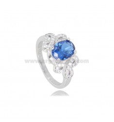 OVAL RING WITH ZIRCONS IN RHODIUM-PLATED SILVER TIT 925 ‰ MEASURE 13