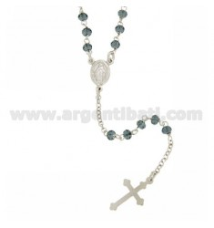 ROSARY NECKLACE WITH BLUE STONES faceted MM 3.5 2.8 X 50 CM IN SILVER RHODIUM 925 ‰