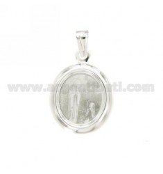 PENDANT OVAL 22X20 MM APPEARANCE MADONNA FATIMA PRINTED IN SILVER TIT 925 ‰