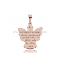 ANGIOLETTO PENDANT WITH PRAYER PLATE MM 23X21 ROSE GOLD PLATED IN AG TIT 925 ‰