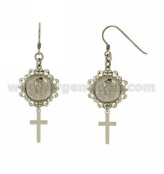 EARRINGS WITH MADONNA AND CROSS MM 57X21 SILVER RHODIUM TIT 925 ‰