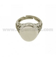 OVAL RING MM 18x14 SIDE WITH ENGRAVED SILVER RHODIUM TIT 925 ‰ SIZE ADJUSTABLE 21