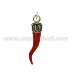 CROWN HORN PENDANT 66 MM SILVER microcast BRUNITO TIT 800 ‰ AND POLISH