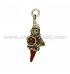PENDANT WITH HORN PULCINELLA DRUM WITH 13 IN SILVER microcast BRUNITO TIT 800 ‰ AND POLISH