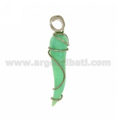 HORN PENDANT 5.5 CM IN chrysotile AND SILVER RHODIUM TIT 925 ‰